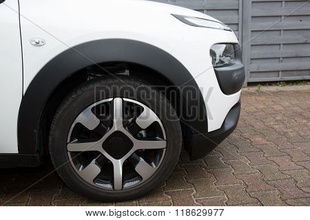 Car Front Bumper, Light And Wheel Detail