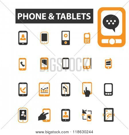 tablets icons, tablets logo, phone icons vector, phone flat illustration concept, phone infographics elements isolated on white background, phone logo, phone symbols set, gadget, laptop