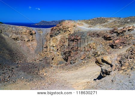 Geological view on landscape of Santorini island volcano.