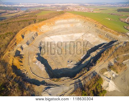 Aerial view of abandoned mine. Industrial landscape after mining.