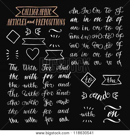 Hand Drawn Elegant Calligraphic Articles And Prepositions