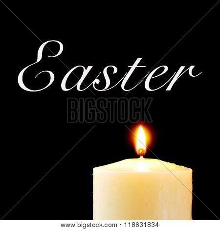 a lit candle and the text ester written in white against a black background