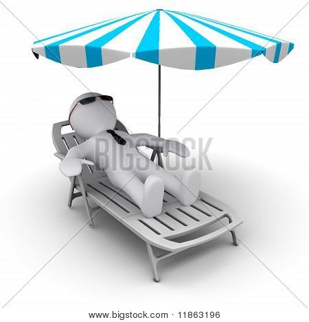 man on holidays under sun umbrella