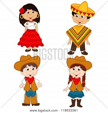 set of isolated children of Mexican and cowboy nationalities