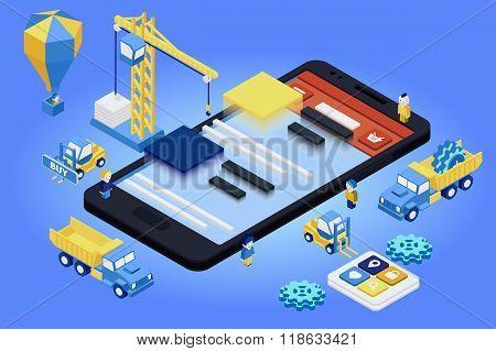 Mobile App Development, Experienced Team. Flat 3D Isometric