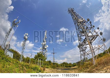 Antenna towers in fish-eye perspective
