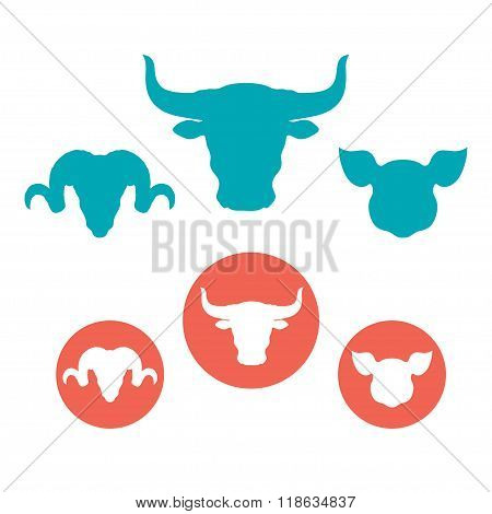 Set of farm animals heads flat icons