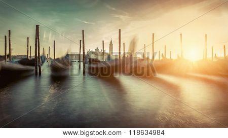 Beautiful Venice view under sunlight. Long exposure
