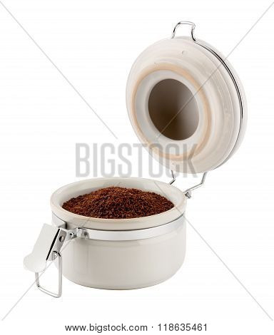 Open Coffee Canister With Metal Clamp