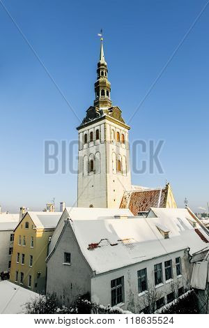 View Of The Cathedral  Niguliste In Tallinn In Winter . Estonia.