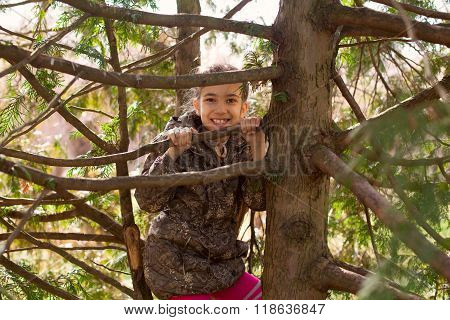 Girl Child Walking In Park Hiding Among Tree Branches