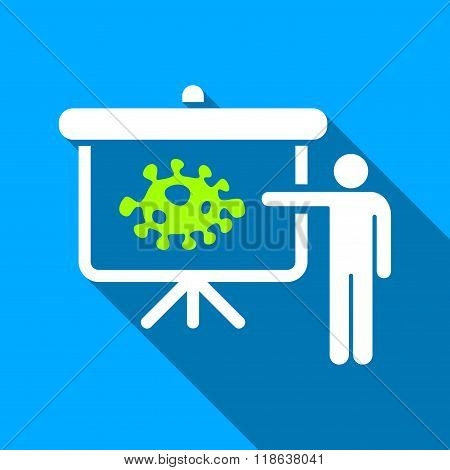 Bacteria Lecture Flat Long Shadow Square Icon