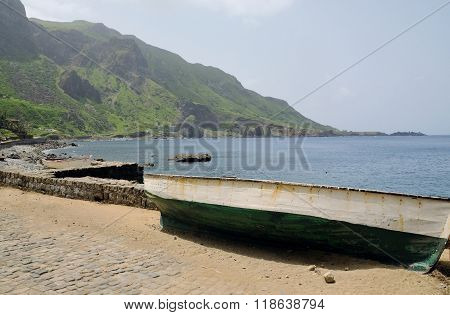 Wooden Boat By The Road
