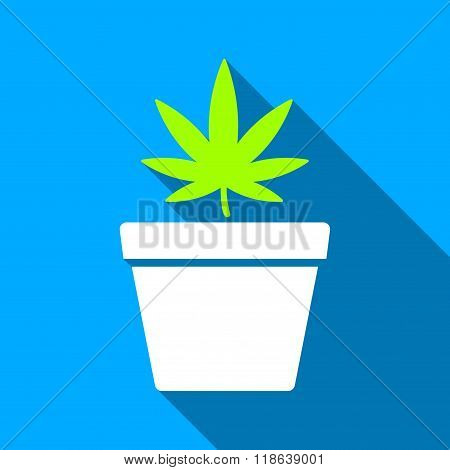 Cannabis Pot Flat Long Shadow Square Icon