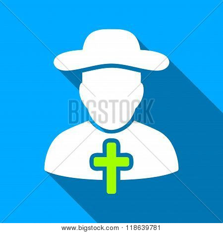 Christian Cleric Flat Long Shadow Square Icon