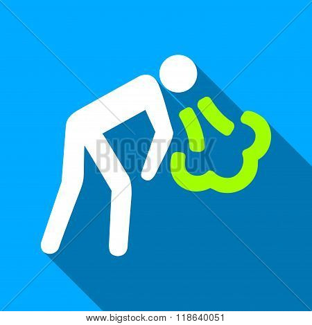 Cough Person Flat Long Shadow Square Icon