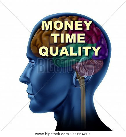 brain money time quality isolated mind currency control concept
