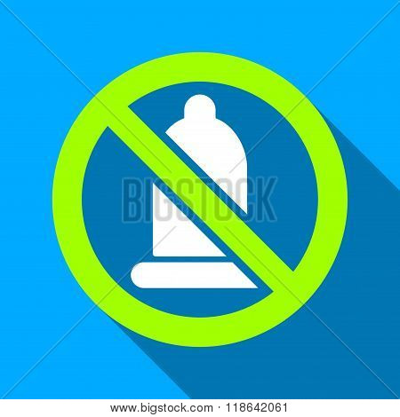 Forbidden Condom Flat Long Shadow Square Icon