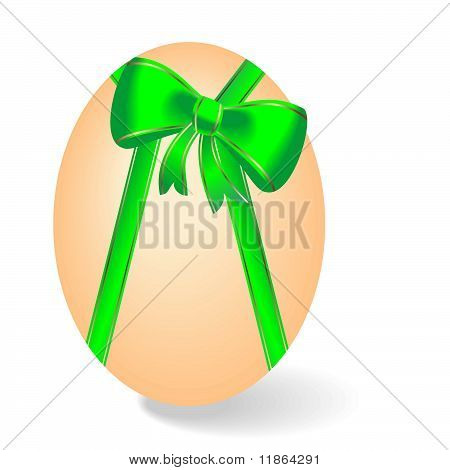 Realistic Illustration By Easter Egg With Green Bow - Vector
