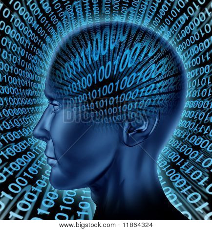 digital brain intelligence internet computer binary code
