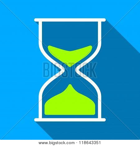 Hourglass Flat Long Shadow Square Icon