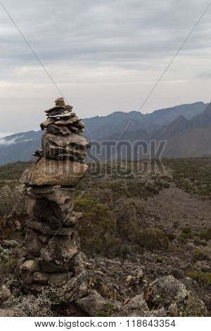 A Man Made Tower Of Rocks