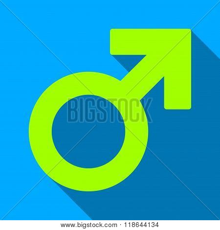 Male Symbol Flat Long Shadow Square Icon