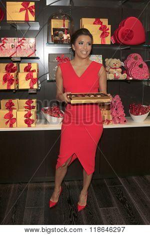 LOS ANGELES - FEB 3:  Eva Longoria at the Eva Longoria Shows Public Display of Godiva Chocolate at the Godiva on February 3, 2016 in Glendale, CA