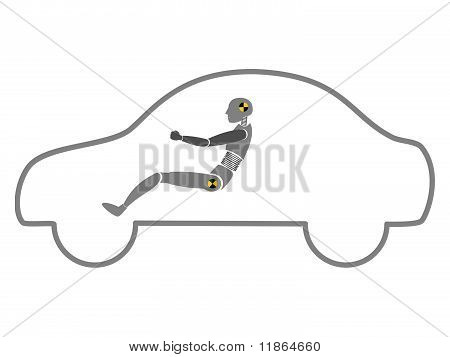 Crash Test Dummy In Car Outline Vector