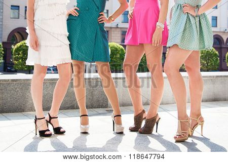 Girls Women Friends With Sexy Tanned Legs Standing