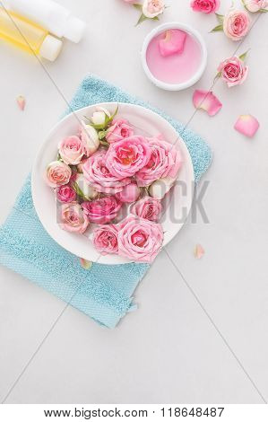 Spa settings with roses