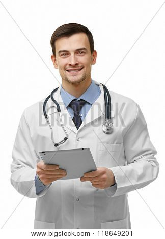Doctor with tablet isolated on white