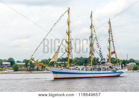 Russian sailing ship Mir stays at Riga port on river Daugava.