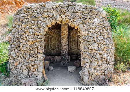 Stone-age homo sapiens old house on Crete island