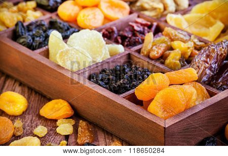 ?ssorted Dried Fruits In Wooden Box