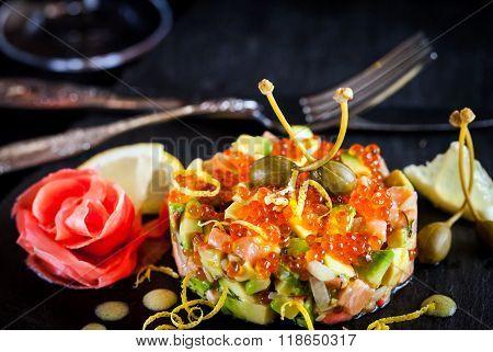 Red Caviar, Salmon And Avocado Tartar