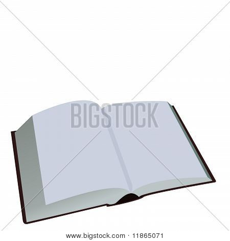 Opened Book Is Isolated On White Background