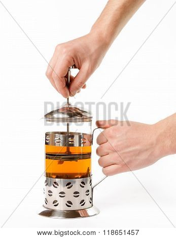 Hand Pull French Press For Making Tea Isolated