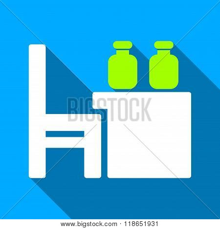 Apothecary Table Flat Long Shadow Square Icon