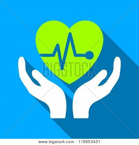Cardiology Care Hands Flat Long Shadow Square Icon