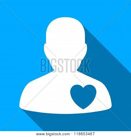 Cardiology Patient Flat Long Shadow Square Icon