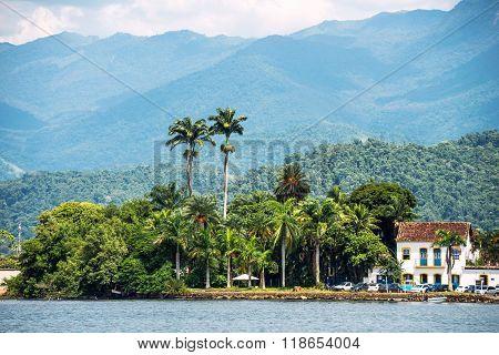 Rio De Janeiro, February, 15, 2016 - Tourist Boat Waiting For Tourists In Paraty, State Rio De Janei