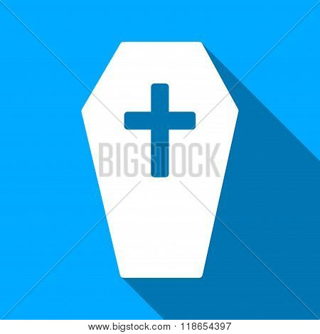 Coffin Flat Long Shadow Square Icon