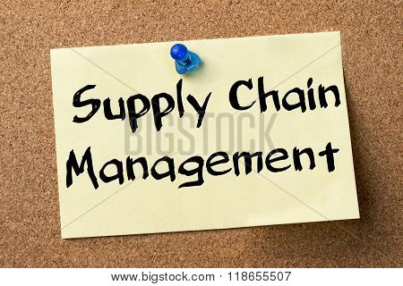 Supply Chain Management Scm - Adhesive Label Pinned On Bulletin Board