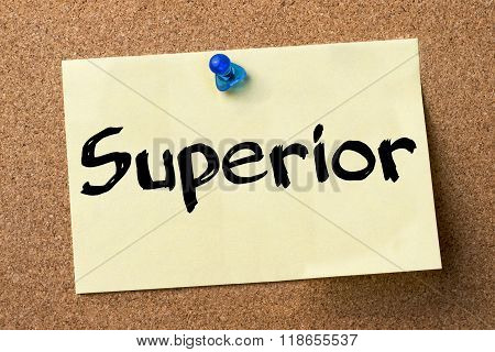 Superior - Adhesive Label Pinned On Bulletin Board