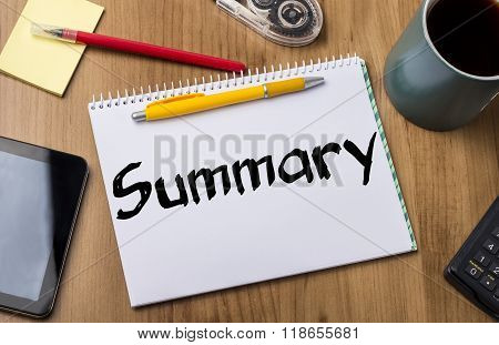 Summary - Note Pad With Text