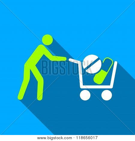 Drugs Shopping Cart Flat Long Shadow Square Icon