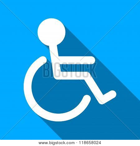 Handicapped Person Flat Long Shadow Square Icon