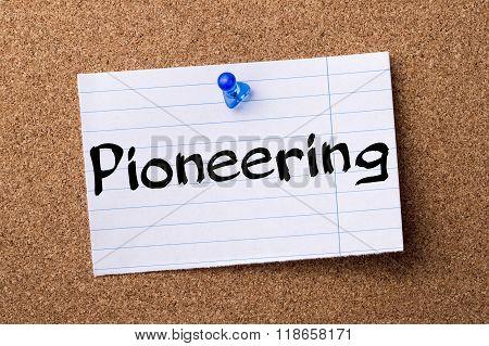 Pioneering - Teared Note Paper Pinned On Bulletin Board