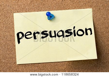 Persuasion - Adhesive Label Pinned On Bulletin Board